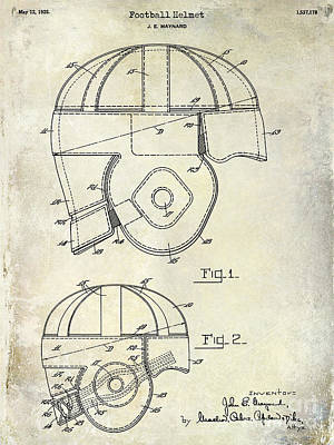 1925 Football Helmet Patent Drawing Print by Jon Neidert