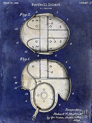1926 Football Helmet Patent Drawing 2 Tone Blue Print by Jon Neidert