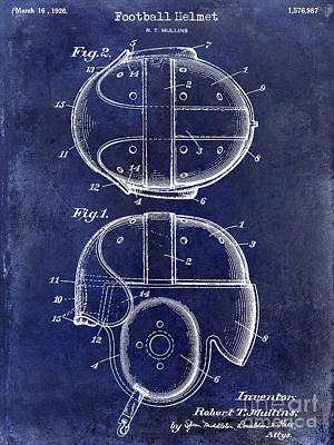 1926 Football Helmet Patent Drawing Blue Print by Jon Neidert