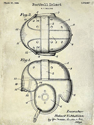 1926 Football Helmet Patent Drawing Print by Jon Neidert