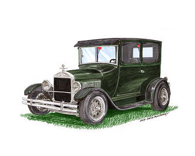 Hand Crafted Painting - 1926 Ford Tudor Sedan Street Rod by Jack Pumphrey