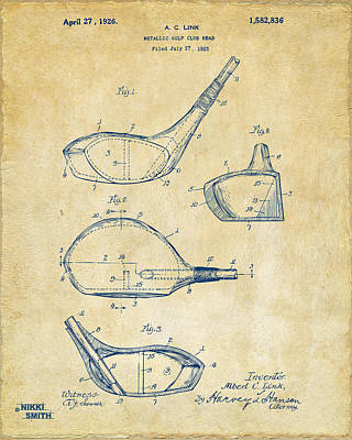 1926 Golf Club Patent Artwork - Vintage Print by Nikki Marie Smith