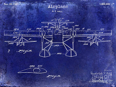 Airliners Photograph - 1927 Airplane Patent Drawing Blue by Jon Neidert