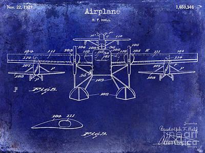 1927 Airplane Patent Drawing Blue Print by Jon Neidert