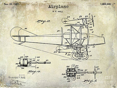 Airliners Photograph - 1927 Airplane Patent Drawing by Jon Neidert