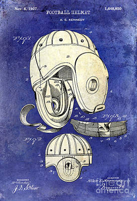 1927 Football Helmet Patent Drawing 2 Tone Blue Print by Jon Neidert