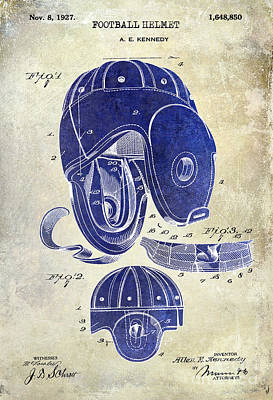 1927 Football Helmet Patent Drawing 2 Tone Print by Jon Neidert