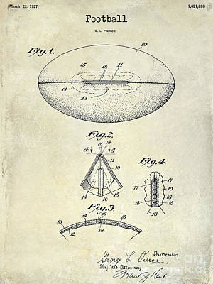 1927 Football Patent Drawing Print by Jon Neidert