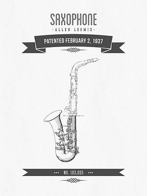 Saxophone Mixed Media - 1937 Saxophone Patent Drawing by Aged Pixel