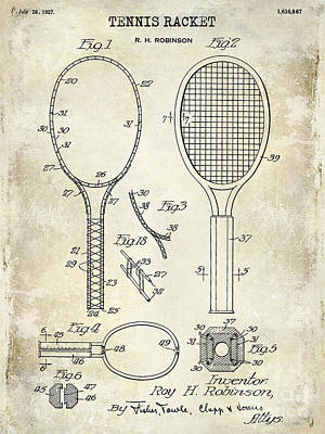 1927 Tennis Racket Patent Drawing  Print by Jon Neidert