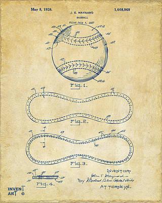 Baseball Drawing - 1928 Baseball Patent Artwork Vintage by Nikki Marie Smith