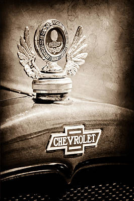 1928 Chevrolet Stake Bed Pickup Hood Ornament - Emblem Print by Jill Reger