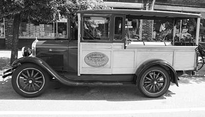 Tons Of Photograph - 1928 Chevy Half Ton Pick Up In Black And White by John Telfer