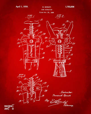 Drawing - 1928 Cork Extractor Patent Artwork - Red by Nikki Marie Smith