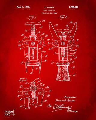 Liquor Digital Art - 1928 Cork Extractor Patent Artwork - Red by Nikki Marie Smith