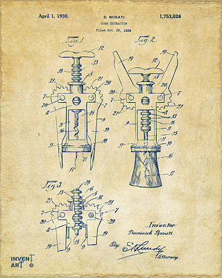 Liquor Digital Art - 1928 Cork Extractor Patent Artwork - Vintage by Nikki Marie Smith