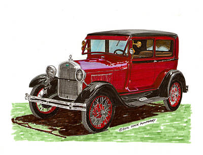 Ink Wash Drawing Painting - 1928 Ford Model A Two Door by Jack Pumphrey