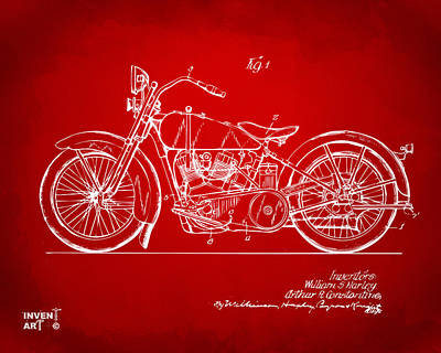 1928 Harley Motorcycle Patent Artwork Red Print by Nikki Marie Smith