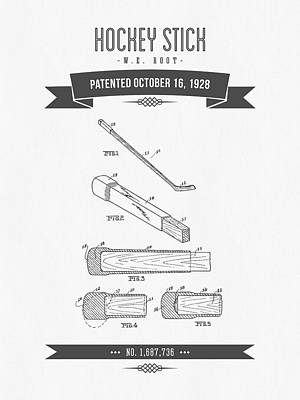 1928 Hockey Stick Patent Drawing - Retro Gray Print by Aged Pixel
