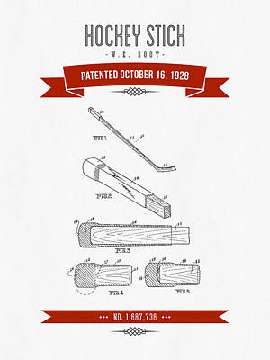 1928 Hockey Stick Patent Drawing - Retro Red Print by Aged Pixel