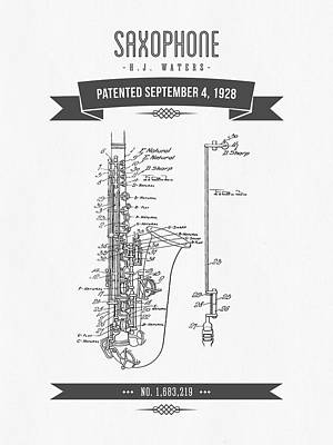 Saxophone Mixed Media - 1928 Saxophone Patent Drawing by Aged Pixel