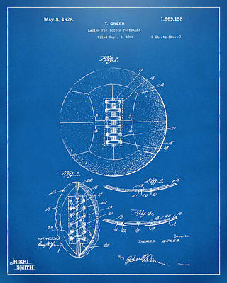 Drawing - 1928 Soccer Ball Lacing Patent Artwork - Blueprint by Nikki Marie Smith