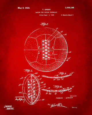 Drawing - 1928 Soccer Ball Lacing Patent Artwork - Red by Nikki Marie Smith