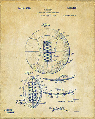 1928 Soccer Ball Lacing Patent Artwork - Vintage Print by Nikki Marie Smith
