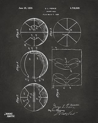 Basketball Digital Art - 1929 Basketball Patent Artwork - Gray by Nikki Marie Smith