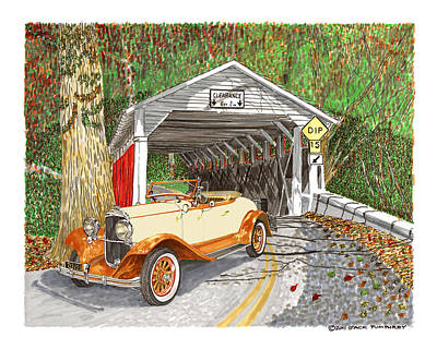 Covered Bridge Drawing - 1929 Chrysler 65 Covered Bridge by Jack Pumphrey