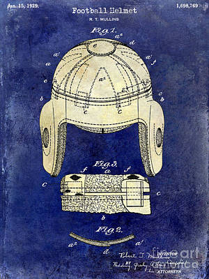 1929 Football Helmet Patent Drawing 2 Tone Blue Print by Jon Neidert