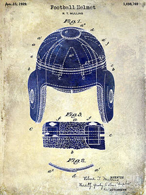 1929 Football Helmet Patent Drawing 2 Tone Print by Jon Neidert