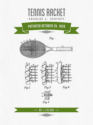 Tennis Mixed Media - 1929 Tennis Racket Patent Drawing - Retro Green by Aged Pixel