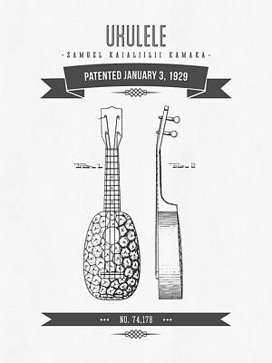 Ukulele Digital Art - 1929 Ukulele Patent Drawing by Aged Pixel