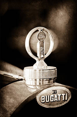 Bugatti Vintage Car Photograph - 1930 Bugatti Type 43 Supercharged Sports Emblem - Moto Meter by Jill Reger