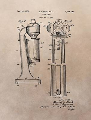 Bloody Mary Drawing - 1930 Drink Mixer Patent by Dan Sproul
