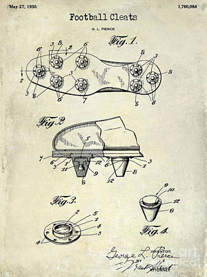 1930 Football Cleats Patent Drawing Print by Jon Neidert