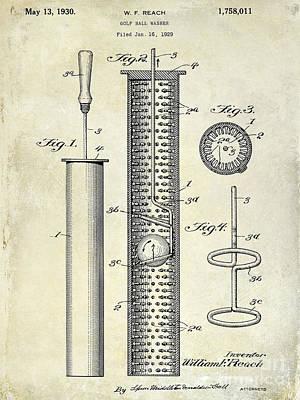 1930 Golf Ball Washer Patent Drawing Print by Jon Neidert