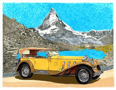 Cylinders Drawing - 1930 Mercedes Benz S S Tourer by Jack Pumphrey