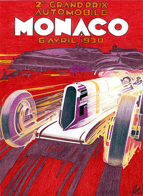 Transportation Mixed Media - 1930 Monaco Gp by Lyle Brown