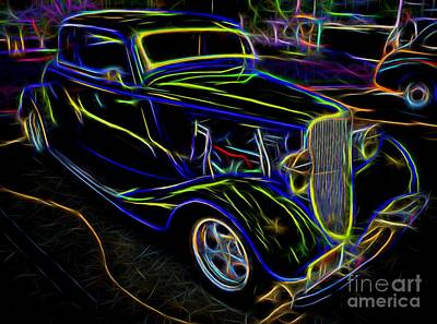 1930s Ford Coupe Neon Abstract Print by Gary Whitton