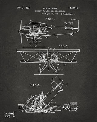 Cave Digital Art - 1931 Aircraft Emergency Floatation Patent Gray by Nikki Marie Smith