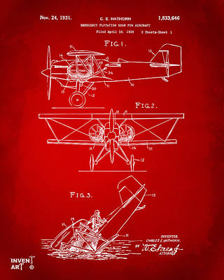 1931 Aircraft Emergency Floatation Patent Red Print by Nikki Marie Smith
