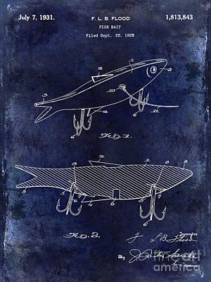 Cape Cod Photograph - 1931 Fish Bait Patent Drawing  Blue by Jon Neidert
