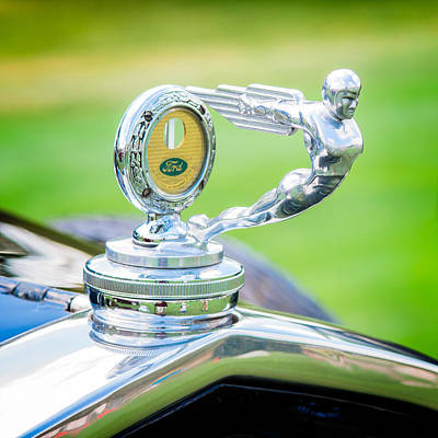 Historic Vehicle Photograph - 1931 Ford Model A Deluxe Fordor Hood Ornament by Sebastian Musial