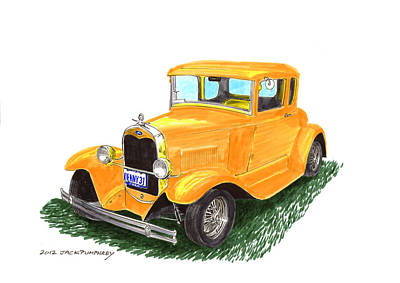 Ink Drawing Painting - 1931 Yellow Ford Coupe by Jack Pumphrey