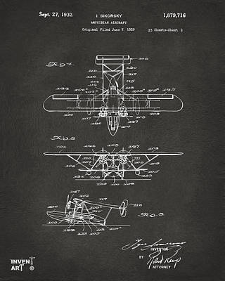 Monocromatic Drawing - 1932 Amphibian Aircraft Patent Gray by Nikki Marie Smith