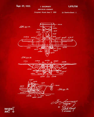 1932 Amphibian Aircraft Patent Red Print by Nikki Marie Smith