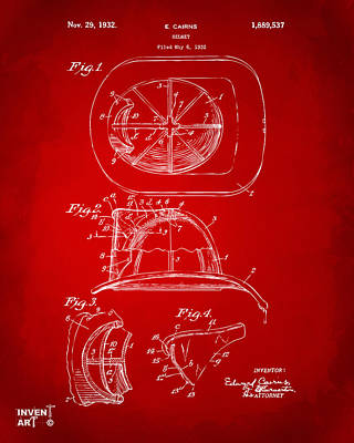 Apparatus Drawing - 1932 Fireman Helmet Artwork Red by Nikki Marie Smith