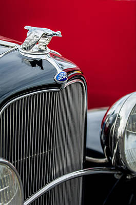 1932 Ford V8 Grille - Hood Ornament Print by Jill Reger